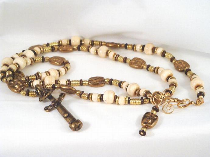 Ghandian Bone and Bronze Pendant Necklace