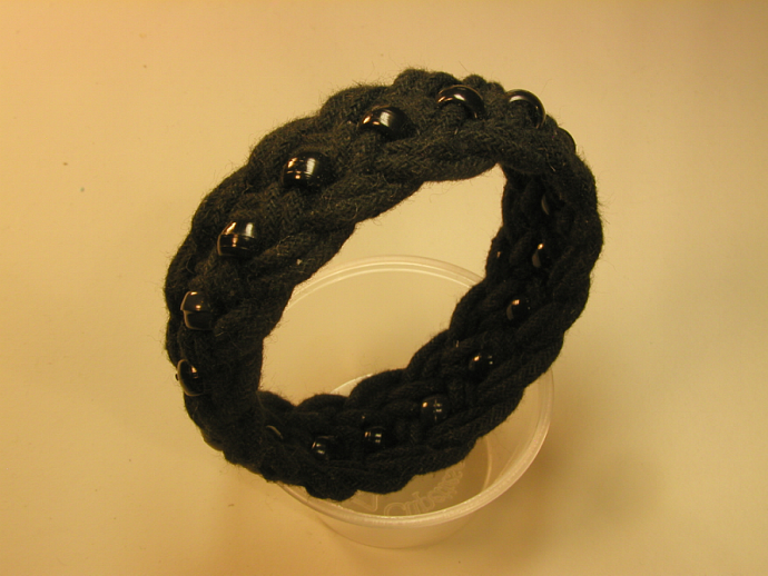 black beaded turks head knot bracelet MEDIUM 120