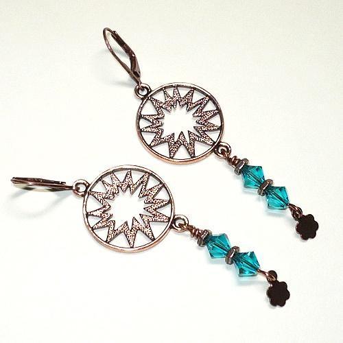 Sunburst Antique Copper & Swarovski Blue Zircon Chandelier Earrings