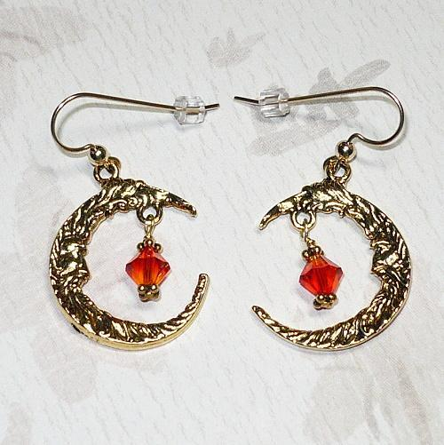 Moon Chandelier Earrings with Swarovski Fire Opal Crystals