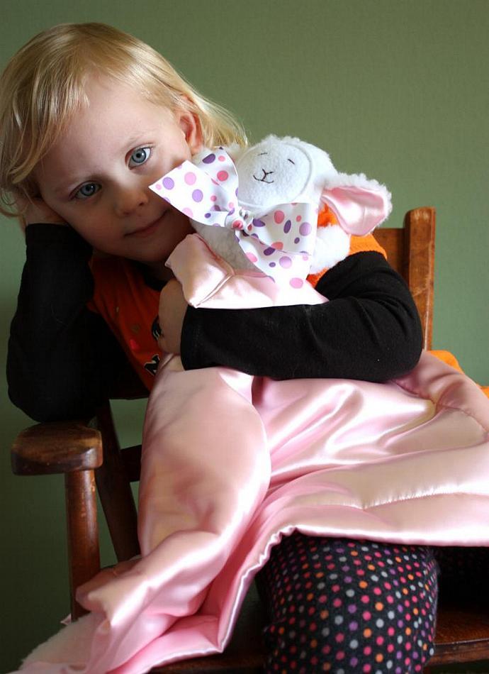 Baby Lamb Lovey Blanket, Satin, Baby Blanket, Stuffed Animal, Baby Toy -