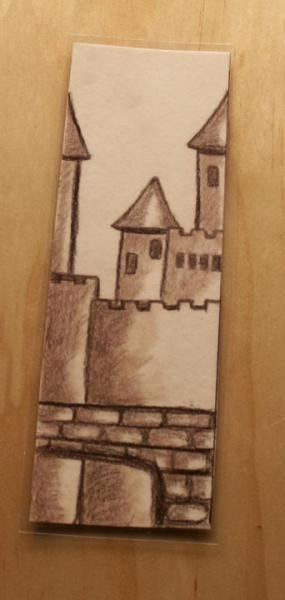 "Hand drawn Earth Tone Fantasy Bookmark ""Burg"" laminated"