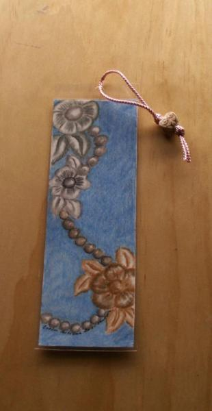 Flowers and Pearls hand drawn Bookmark laminated and with bead cord