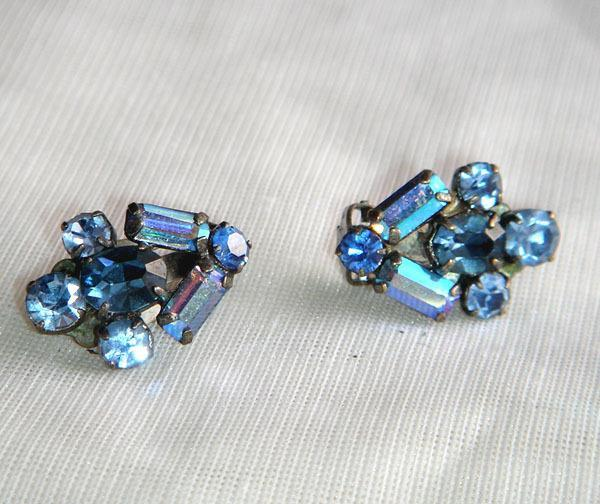 Vintage - Blue Faceted Rhinestone Glass Clip Earrings