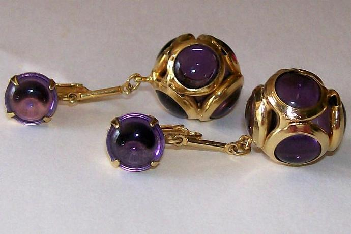 Vintage - Purple and Gold Bauble Clip On Earrings