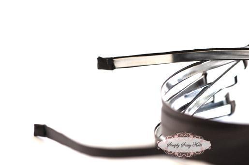 10 BLACK Satin Lined Metal Headbands - NEW & IMPROVED Add Hair Flowers,