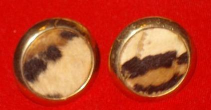 Vintage - Faux Leopard Fur Button Screw Back Clip Earrings