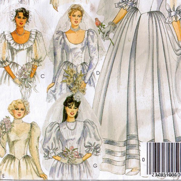 Sewing Pattern Bridal Gown 1985 Vintage Small by paisleypath on Zibbet