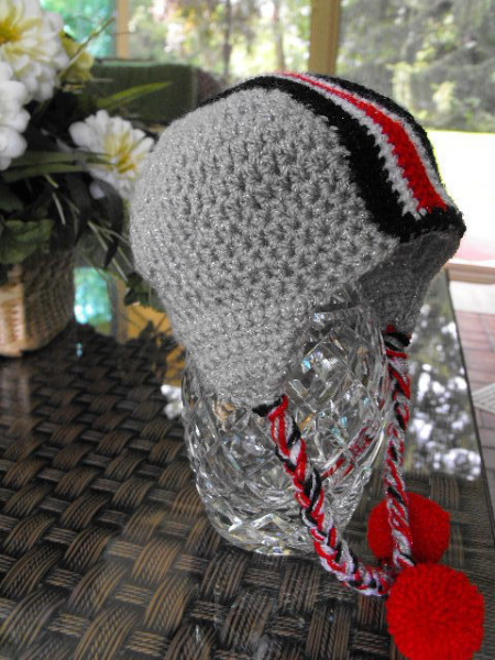 GIRLIE HELMET HAT SCARLET & GREY NEWBORN