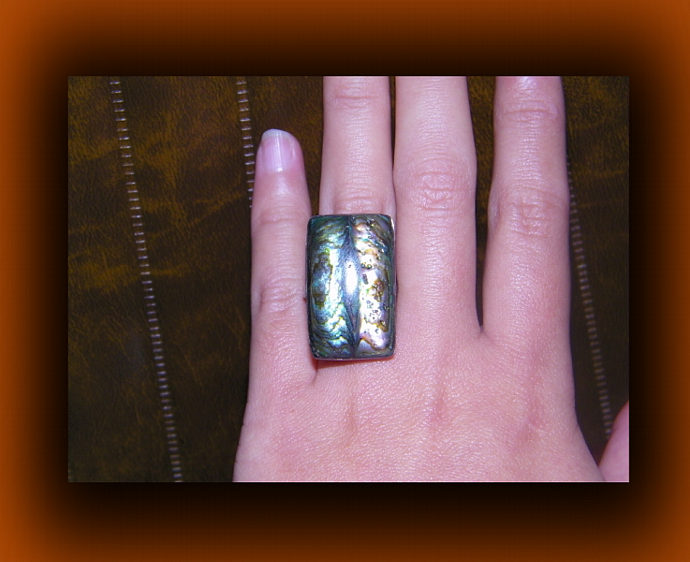Rainbow Adjustable Shell Ring w/ Paua Abalone