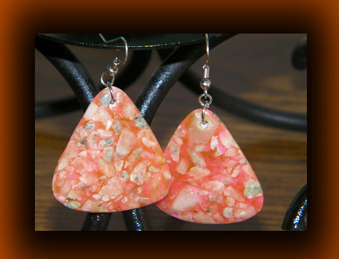 Pink Coral Teardrop Dangling Earrings