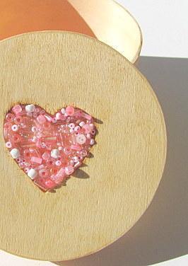 Heart Round Wood Treasure Box
