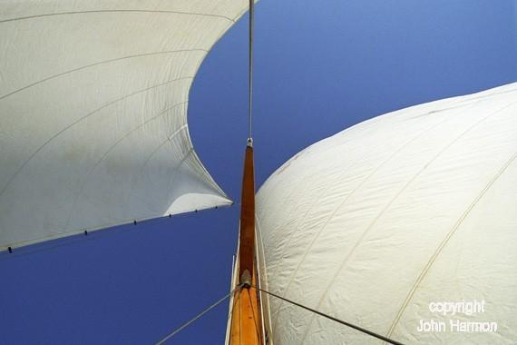 Looking up the Wooden Mast of a Classic Sailboat  Nautical Sailing Art on the