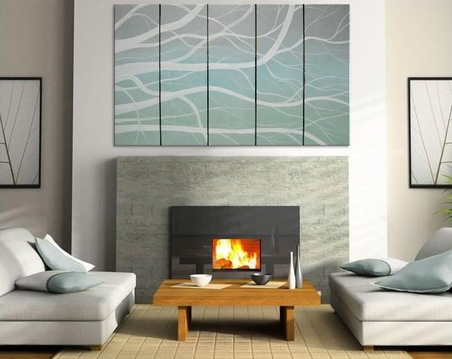 60x36 Huge Winter Tree Branch Painting Blues White and Turquise Custom Artwork
