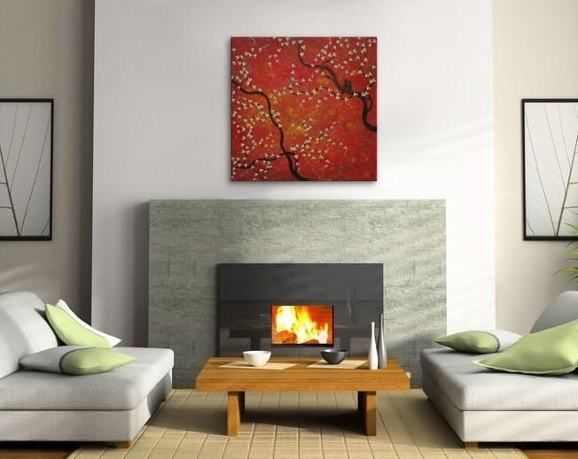 24x24 Red Cherry Blossom and Love Birds Painting Original Art