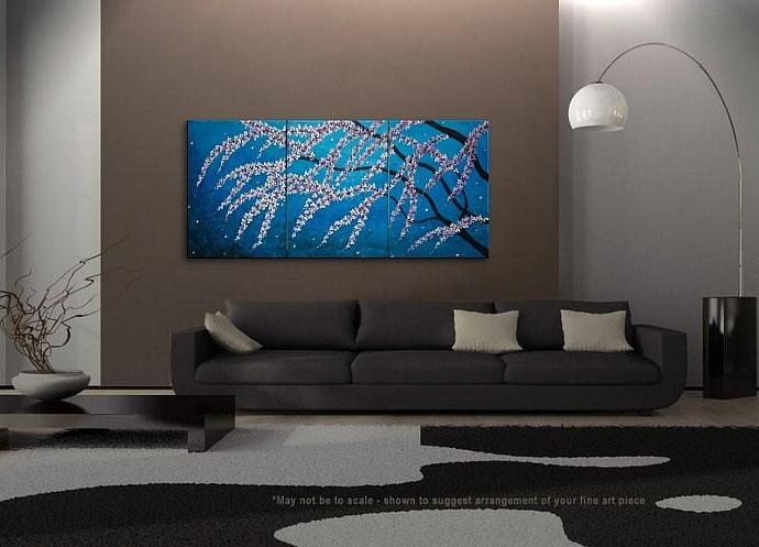 72x36 Blue Cherry Blossom Painting Huge Original Asian Style Art CUSTOM