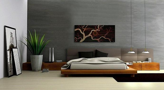 48x20 Masculine Midnight Plum Blossom Painting Custom Original Art