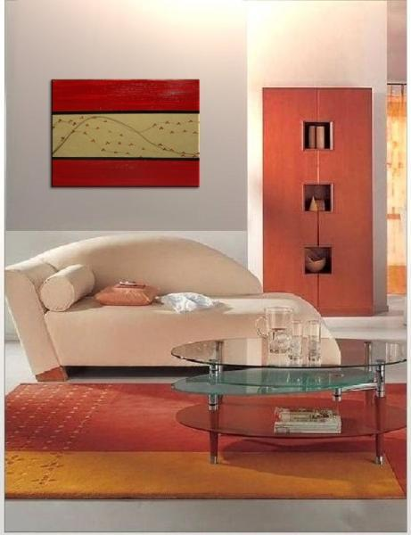 36x24 Red and Gold Cherry Blossom Painting Original Art