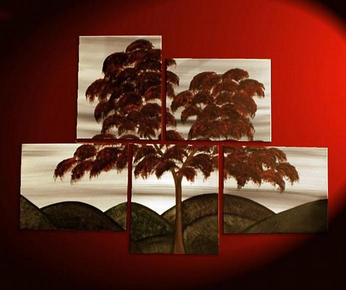 56x40 Large Abstract Tree Painting Red and White Original Art