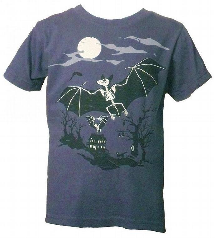 Little Kids' Organic Bats and Haunted House Shirt