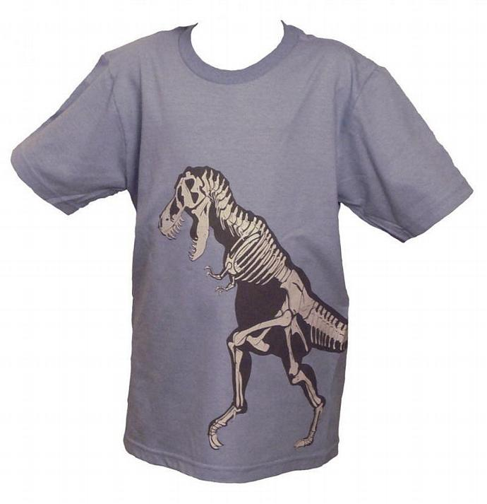 SALE Kids' T-Rex Shirt--Sky Blue, Organic Cotton, Glows in the Dark