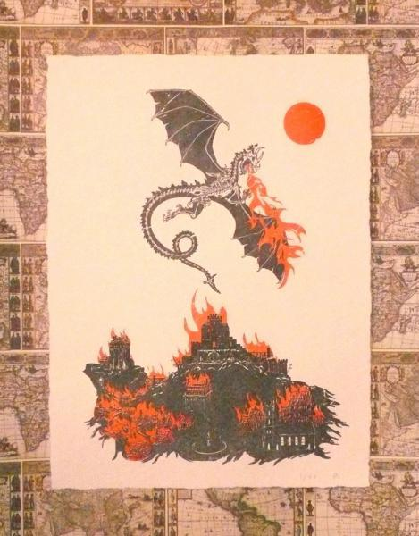 Limited-Edition Dragon and Burning Castle Letterpress Print, 9 x 12 Inches