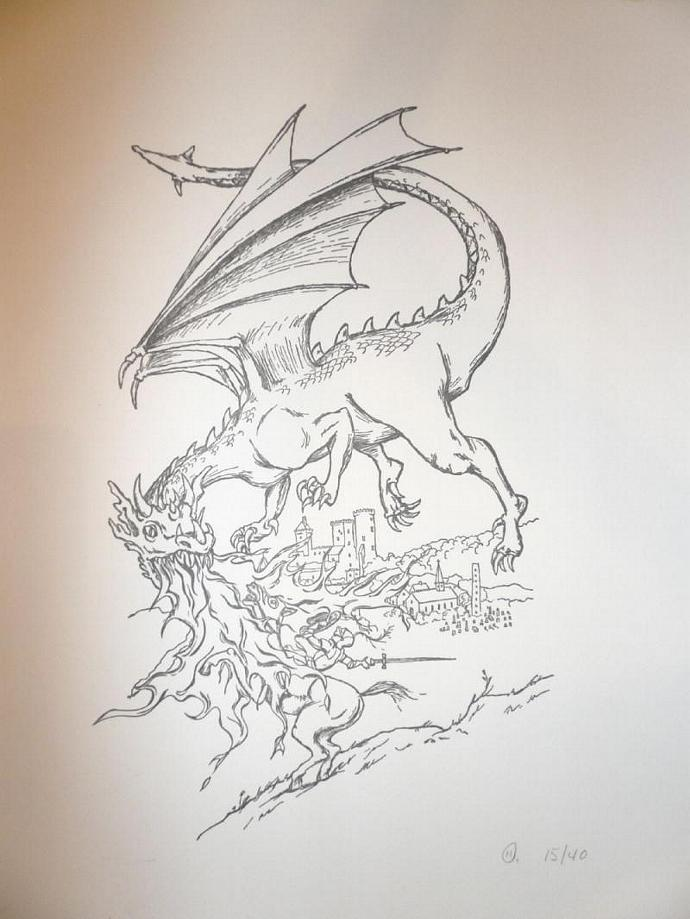 Limited-Edition Dragon and Knight Letterpress Print, 8 x 10 Inches
