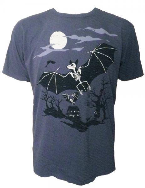 Men's Organic Bat Skeleton Shirt, Blue, Glows in the Dark