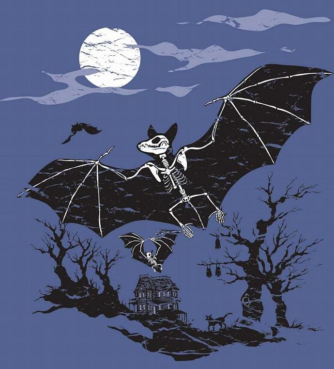 Big Kids' Organic Bats and Haunted House Shirt--Glows in the Dark