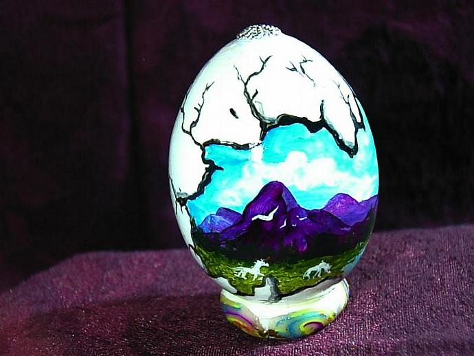 Hand painted egg- 'Other World Egg- Unicorn Glade in Summer- on a permanent