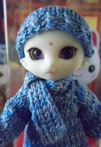 Sapphire blue silk hat scarf set - pukipuki lati white