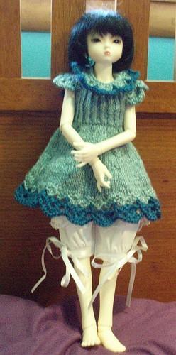 Mint & Indigo Knit doll dress,  for ball jointed doll MSD BJD