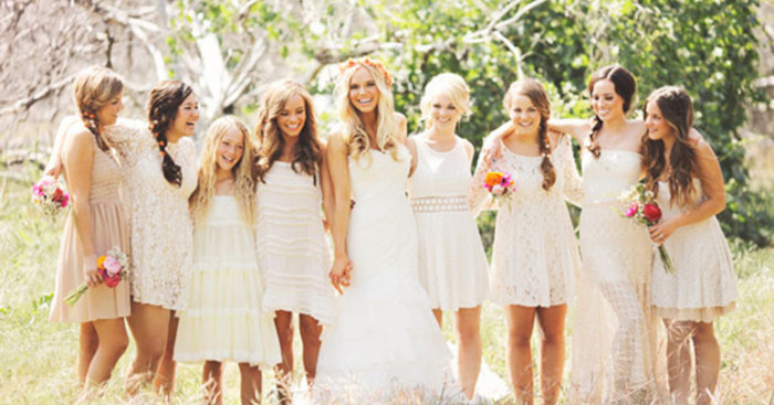 Original mismatched bridesmaid dresses for 2014 boho chic outdoor wedding ideas