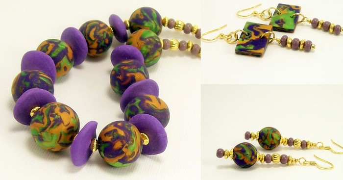 Original   polymer clay   1neck  2match er s new purp gold bright green  4 2015